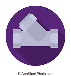 Tee plumbing fitting icon in flat style isolated on white background. Water filtration system symbol stock bitmap, rastr illustration.