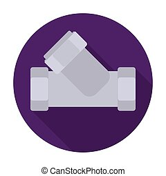 Tee plumbing fitting icon in flat style isolated on white background. Water filtration system symbol stock vector illustration.