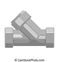 Tee plumbing fitting icon in monochrome style isolated on white background. Water filtration system symbol stock vector illustration.
