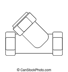 Tee plumbing fitting icon in outline style isolated on white background. Water filtration system symbol stock bitmap, rastr illustration.