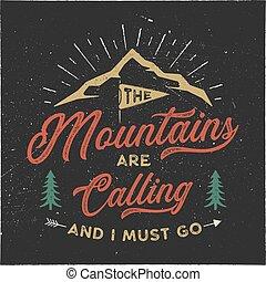tee., poster., mur, aller, style., design., camping, isolé, hipster, noir, stockage, montagnes, emblème, illustration, t-shirt, aventure, fond, textured, devoir, typographie, appeler, vecteur, art