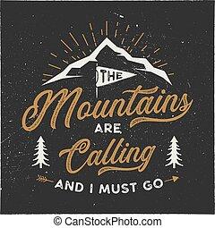 tee., poster., mur, aller, style., design., camping, isolé, hipster, stockage, montagnes, emblème, illustration, t-shirt, aventure, fond, textured, devoir, sombre, typographie, appeler, vecteur, art