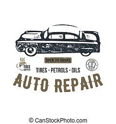 tee., reparera, gammal, klassisk, grunge, template., design., stil, skjorta, årgång, bakgrund., retro, bil, oavgjord, logo, block, emblem, affisch, hand, typography., bil industri, lappa, vektor, t
