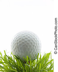 Golf ball on tee in grass, isolated on white