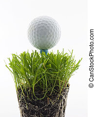 Golf ball on tee, in the grass isolated on white