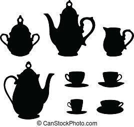 tee, silhouetten, satz, bohnenkaffee, oder