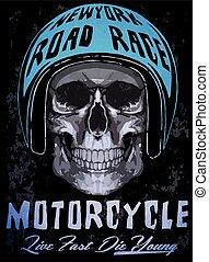 Tee skull motorcycle graphic design