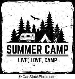 tee., sommer, begriff, illustration., camp., briefmarke, oder, vektor, druck, logo, mã¤nnerhemd