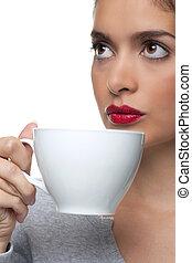 tee, trinken, frau, becher