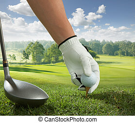 tee up - hand placing a tee with golf ball