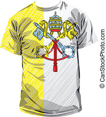 tee, vecteur, illustration, vatican