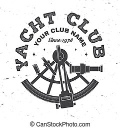 tee., vector., club, nautisme, chemise, ou, adventure., conception, badge., timbre, sextant, vendange, yacht, impression, océan, concept, typographie, silhouette.