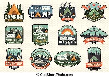 tee., vector., o, badges., campo, estampilla, remiendo, logotipo, impresión, conjunto, verano, concepto, camisa