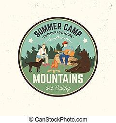 tee., verão, conceito, illustration., camp., selo, ou,...