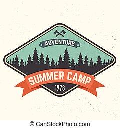 tee., verão, conceito, illustration., selo, acampamento, ou, vetorial, patch., impressão, logotipo, camisa