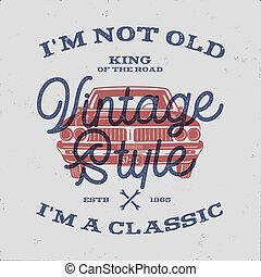 tee., viejo, cartel, clásico, aniversario, nacido, coche., estilo, clásico, vendimia, aislado, retro, acción, cumpleaños, palabras, 70, no, 1948., rey, t-shirt., regalo, afligido, m, camino