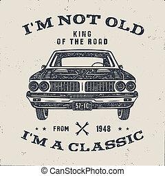 tee., viejo, plano de fondo, cartel, clásico, brochure., aniversario, nacido, coche., estilo, clásico, aislado, retro, blanco, acción, cumpleaños, palabras, 70, no, 1948., rey, regalo, afligido, m, camino