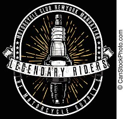 Tee Vintage Motorbike Race | Hand drawing | T-shirt Printing | Badge Applique Label