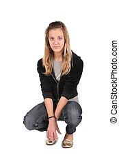 teeenager girl sit on white