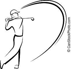 teeing, golfista, estilizado, de