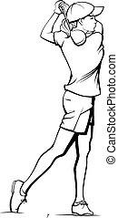 teeing, niña, golfista, de