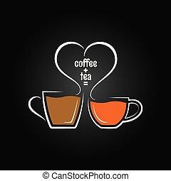 teekaffee, begriff, liebe, hintergrund