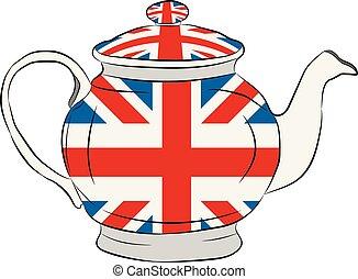 teekanne, mit, a, fahne, von, großbritannien