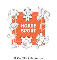 teelt, paarde, sportende, ruiter, school, club, uitrusting, horseback, lessen, vector, illustratie, mal, monochroom, getrokken, hand, spandoek, paardrijden