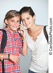 Teen aged girls with mobile phone