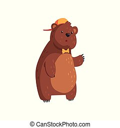 Teen bear standing isolated on white. Cartoon character with brown fur, small rounded ears and paws with claws. Wild animal in orange cap and bow tie. Flat vector