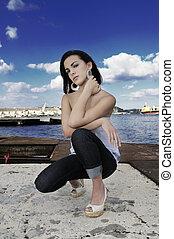 Teen beauty posing - Portrait of trendy teen girl posing on...