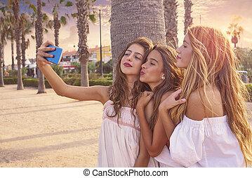 Teen best friends girls group shooting selfie photo...