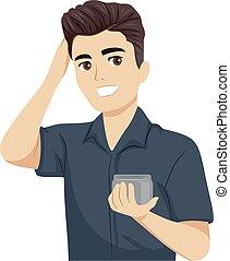 Teen Boy Apply Hair Pomade Illustration - Illustration of a ...