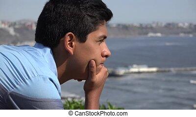 Teen Boy At Ocean