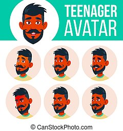 Teen Boy Avatar Set Vector. Indian, Hindu. Asian. Face Emotions. Expression, Positive Person. Beauty, Lifestyle. Cartoon Head Illustration