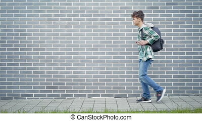 Teen boy back to school - Teen boy with backpack go to...