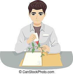Teen Boy Botanist Herbarium Illustration - Illustration of a...