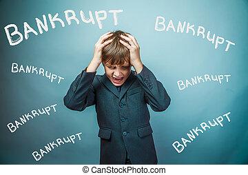Teen boy businessman fails bankrupt holding his head inscription