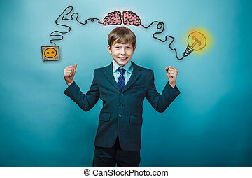 Teen boy businessman showing strength at the hands of the charging cord plug wire igniter charge and sketch infographics