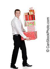 teen boy carrying christmas present