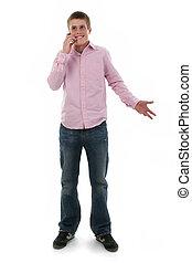 Teen Boy Cellphone - Cute freckled male teen talking on...