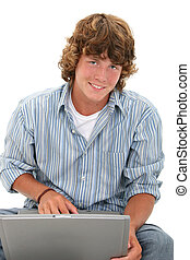 Teen Boy Computer - Attractive Teen Boy With Laptop...