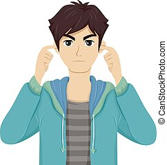 Illustration of a Teenage Boy Covering His Ears with His Fingers