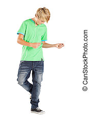 teen boy dancing with music