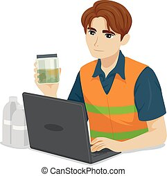 Teen Boy Environmental Engineer Illustration