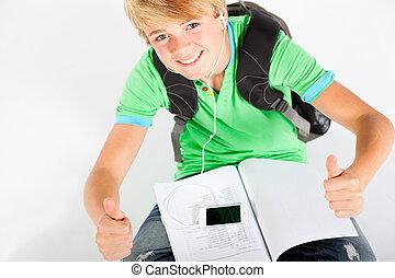 teen boy giving thumbs up
