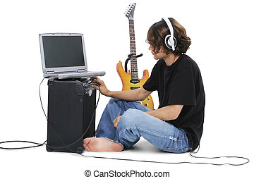 Teen Boy Guitar - Boy Teenager With Electric Guitar Amp And...