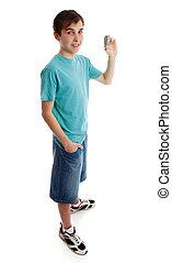Teen boy holding money