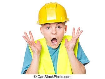 Teen boy in hard hat