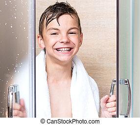 Teen boy in the bathroom